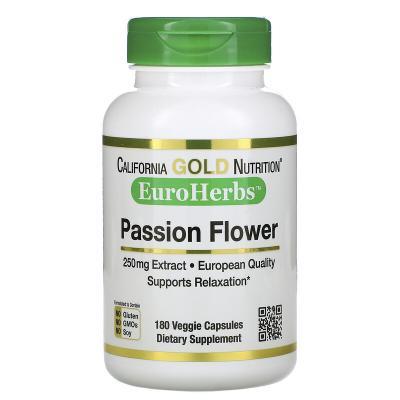 Страстоцвет, Passion Flower, California Gold Nutrition, EuroHerbs, 250 мг, 180 растительных капсул