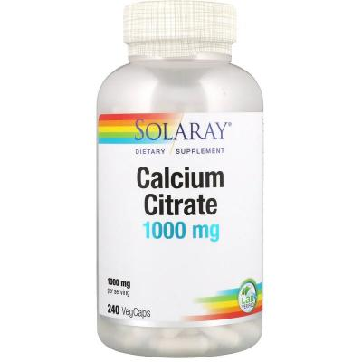 Цитрат кальция, Calcium Citrate, Solaray, 1000 мг, 240 капсул