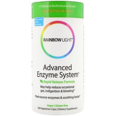 Усовершенствованная система ферментов, Advanced Enzyme System, Rapid Release Formula, Rainbow Light, 180 вегетарианских капсул