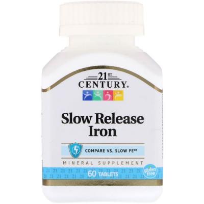 Железо медленного высвобождения,21st Century,  60 таблеток