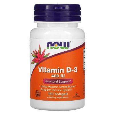 Витамин Д-3, D3, Now Foods, 10 мг (400 МЕ), 180 капсул