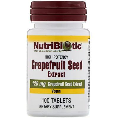 Семена грейпфрута, экстракт, Grapefruit Seed Extract, NutriBiotic, 125 мг, 100 таблеток
