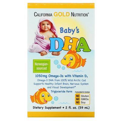 ДГК для детей, Омега-3 с витамином D3, California Gold Nutrition, 1050 мг, 59 мл (2 жидк. унции)
