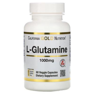 Глютамин, L-Glutamine, California Gold Nutrition, 1000 мг, 60 капсул