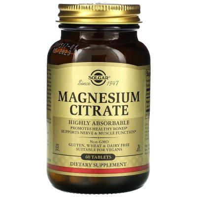 Цитрат магния, Magnesium Citrate, Solgar, 60 таблеток