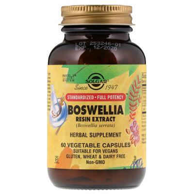 Экстракт смолы босвеллии, Boswellia Resin, Solgar, 60 растительных капсул
