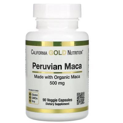 Перуанская мака, Peruvian Maca, California Gold Nutrition,  500 мг, 90 вегетарианских капсул