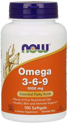Омега 3 6 9, Omega 3-6-9, Now Foods, 1000 мг, 100 гелевых капсул