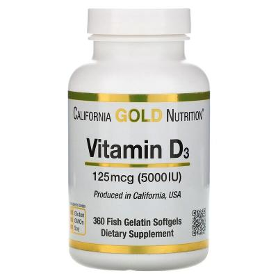 Витамин D3, Vitamin D3, California Gold Nutrition, 125 мкг (5 000 МЕ), 360 рыбно-желатиновых капсул