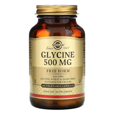 Глицин, 500 мг, Reacta-C, Solgar, 500 мг, 100 растительных капсул
