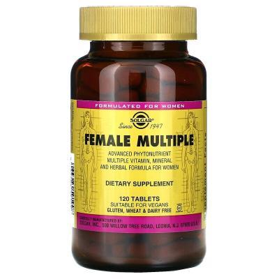 Мультивитамины для женщин, Female Multiple, Solgar, 120 таблеток