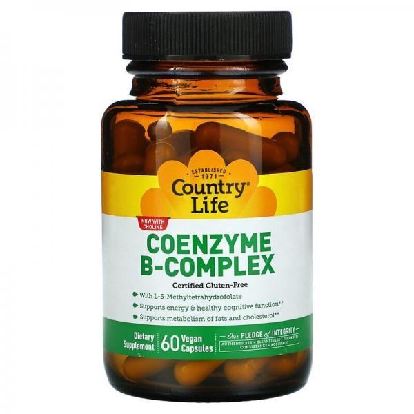 Комплекс коэнзимов группы B, Coenzyme B-Complex, Country Life, 60 веганских капсул