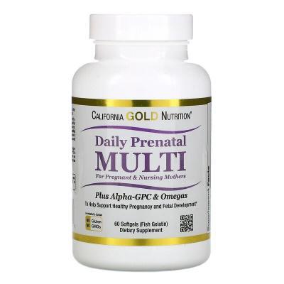 Мультивитамины для беременных и кормящих матерей, Prenatal Multi, California Gold Nutrition, 60 мягких желатиновых капсул с рыбьим жиром