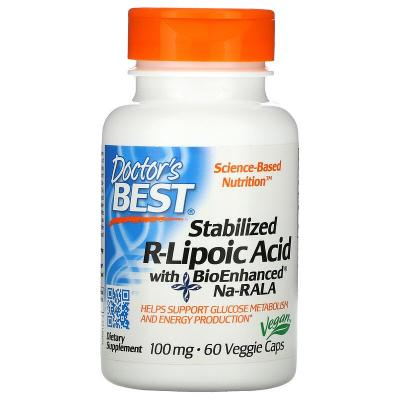 R-Липоевая Кислота, R-Lipoic Acid, Doctor's Best, 100 мг, 60 капсул