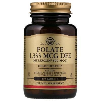 Фолат, Folate, Solgar, 800 мкг (1333 мкг DFE), 100 таблеток