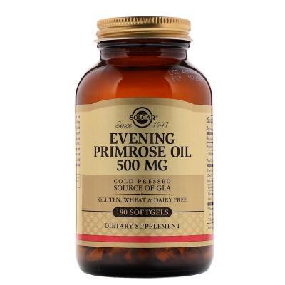 Масло вечерней примулы (Evening Primrose Oil), Solgar, 500 мг, 180 капсул