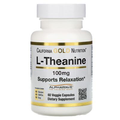 L-теанин, L-theanine, California Gold Nutrition, 100 мг, 60 растительных капсул
