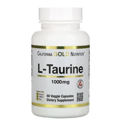 L-таурин, L-Taurine, AjiPure, California Gold Nutrition, 1000 мг, 60 растительных капсул