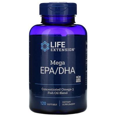 Мегаэффективный комплекс ЭПК/ДГК, Mega EPA/DHA,  Life Extension, 120 мягких желатиновых капсул