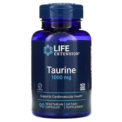 Таурин, Taurine, Life Extension, 1000 мг, 90 вегетарианских капсул