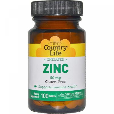 Цинк хелатный, Chelated Zinc, Country Life, 50 мг, 100 таблеток