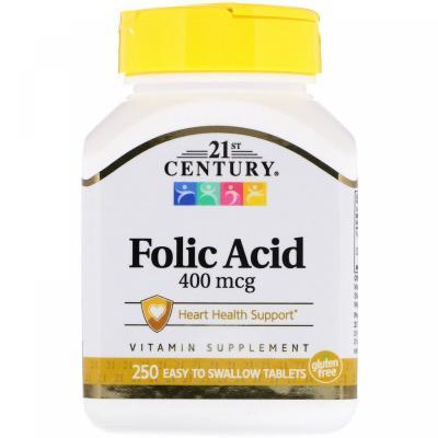 Фолиевая кислота, Folic Acid, 400 мкг, 21st Century, 250 таблеток