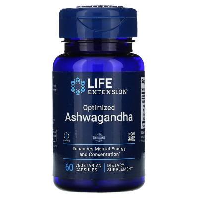 Оптимизированный экстракт ашвагандха, Optimized Ashwagandha Extract, Life Extension, 60 капсул
