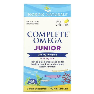 Рыбий жир для подростков, вкус лимона, Complete Omega Junior, Nordic Naturals, 283 мг, 90 капсул