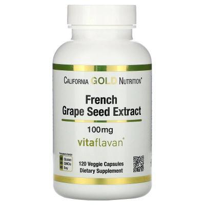 Экстракт косточек французского винограда, French Grape Seed Extract, California Gold Nutrition, 100 мг, 120 вегетарианских капсул