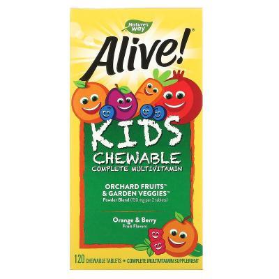 Жевательные детские мультивитамины, со вкусом апельсина и ягод, Nature's Way, Alive!. 120 жевательных таблеток