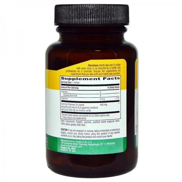 Масло примулы вечерней (Evening Primrose Oil), 500 мг, Country Life, 60 желатиновых капсул