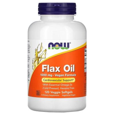 Льняное масло, Flax Oil, Now Foods, 1000 мг, 120 гелевых капсул