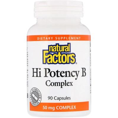 Комплекс витаминов группы B, Hi Potency B Complex, Natural Factors, 90 капсул