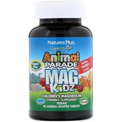 Магний для детей, Children's Magnesium, Nature's Plus, Animal Parade, вкус вишни, 90 жевательных животных