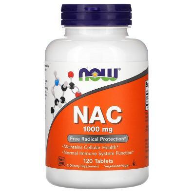 N-ацетилцистеин, NAC, Now Foods, 1000 мг, 120 таблеток