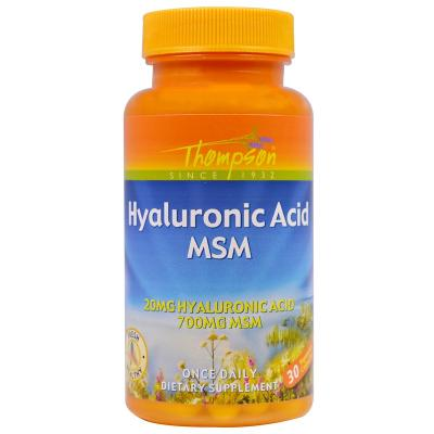 Гиалуроновая кислота и МСМ, Hyaluronic Acid MSM, Thompson, 30 капсул