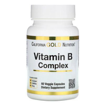 Комплекс витаминов B, B-Complex, California Gold Nutrition, 60 растительных капсул