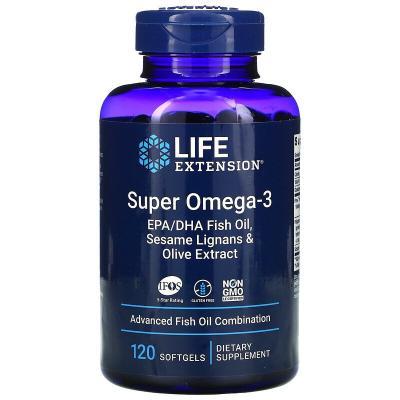 Супер омега-3 из рыбьего жира с ЭПК и ДГК, с лигнанами кунжута и экстрактом оливы, Life Extension, 120 капсул