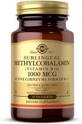 Витамин В12 (метилкобаламин), Vitamin B12, Solgar, сублингвальный, 1000 мкг, 30 наггетсов