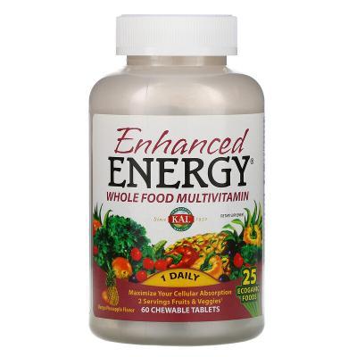 Мультивитамины со вкусом манго и ананаса KAL, Enhanced Energy, 60 жевательных таблеток