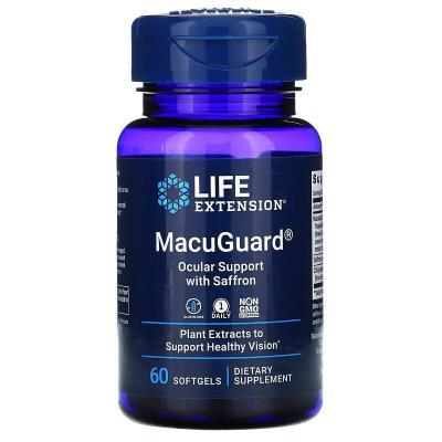 Препарат с шафраном для укрепления зрения, MacuGuard, Life Extension, 60 мягких таблеток