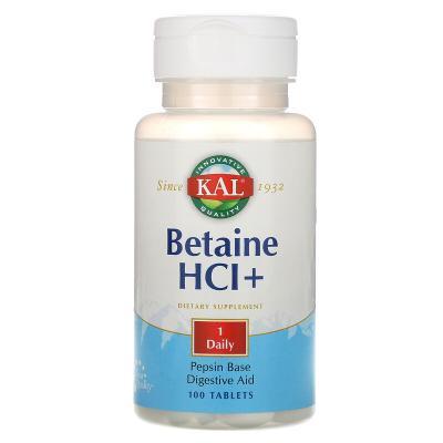 Бетаин HCl +, Betaine HCl+, KAL, 100 таблеток