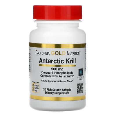 Масло антарктического криля, натуральный ароматизатор клубники и лимона, Antarctic Krill, California Gold Nutrition, 500 мг, 30 мягких капсул с рыбьим желатином