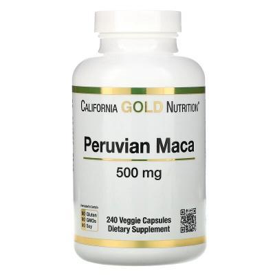 Перуанская мака, Peruvian Maca, California Gold Nutrition, 500 мг, 240 капсул