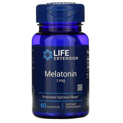 Мелатонин, Melatonin, Life Extension, 1 мг, 60 капсул