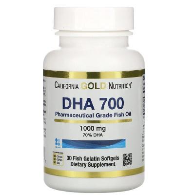 Рыбий жир фармацевтической степени чистоты, DHA 700, California Gold Nutrition, 1000 мг, 30 рыбно-желатиновых капсул