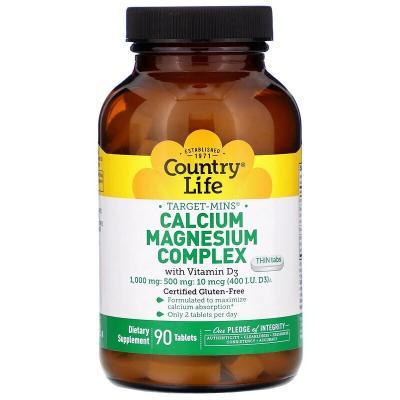 Кальций магний витамин Д3, Calcium Magnesium, Country Life, 90 таблеток
