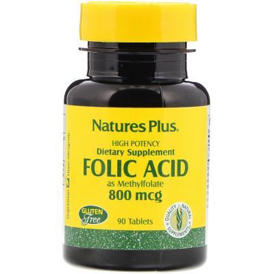 Фолиевая кислота, Folic Acid, Nature's Plus, 800 мкг, 90 таблеток
