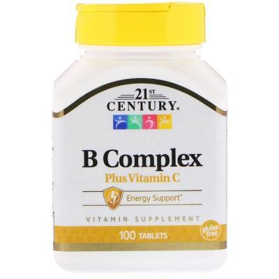 Комплекс витаминов В и С, B Complex plus Vitamin C, 21st Century, 100 таблеток