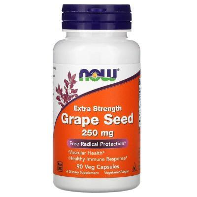 Экстракт косточек винограда, Extra Strength Grape Seed, Now Foods, 250 мг, 90 растительных капсул